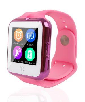 Namakané inteligentné bluetooth hodinky v ružovej farbe