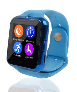 Namakané inteligentné bluetooth hodinky v modrej farbe