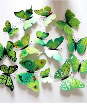 Kreatívne nálepky na stenu z PVC - MOTÝLE ZELENÉ - 12 kusov