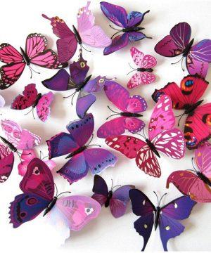 Kreatívne nálepky na stenu z PVC - MOTÝLE FIALOVÉ - 12 kusov