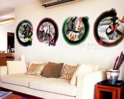Kvalitná nálepka na stenu z PVC - CHINESE - priemer kruhu 48 cm, 4ks