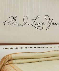 Kvalitná nálepka na stenu z PVC - PS. I LOVE YOU - 58 x 15 cm