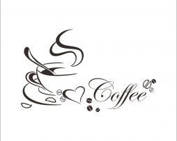 Kvalitná nálepka na stenu z PVC - COFFEE - 40 x 60 cm
