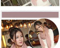 Elegantný šál z bavlny a kašmíru v svetlo ružovej farbe