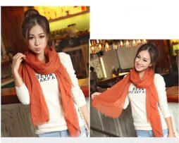 Elegantný šál z bavlny a kašmíru v pomarančovej farbe