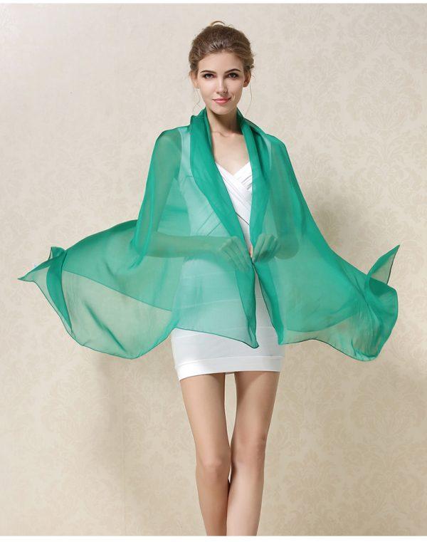 Luxusný veľký hodvábny šál v zelenej farbe
