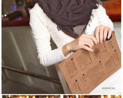 Elegantný šál z bavlny a kašmíru v tmavo hnedej farbe