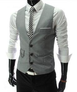 4b3dd4e4e2d8 Luxusná pánska vesta ku obleku v sivej farbe