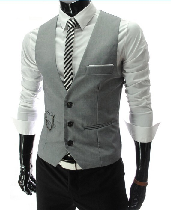 2d10bab446b6 Luxusná pánska vesta ku obleku v sivej farbe