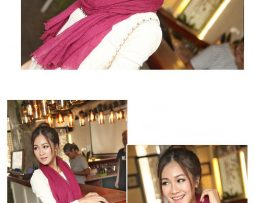 Elegantný šál z bavlny a kašmíru v bordovej farbe