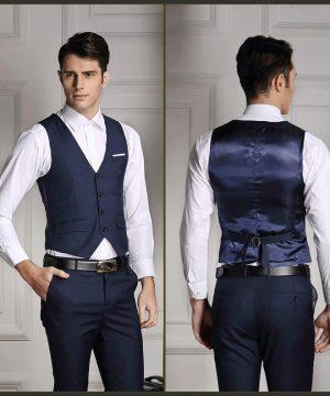 Štýlová pánska vesta ku obleku v tmavo modrej farbe