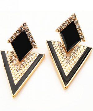 Luxusné Vintage náušnice so zlatou úpravou v čiernej farbe