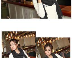 Elegantný šál z bavlny a kašmíru v čiernej farbe