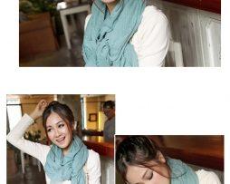 Elegantný šál z bavlny a kašmíru v azurovej farbe