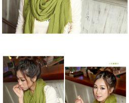 Elegantný šál z bavlny a kašmíru v zelenej farbe