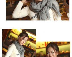 Elegantný šál z bavlny a kašmíru v sivej farbe