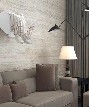 Umelecký drevený 3D obraz s hlavou slona v 9 farbách