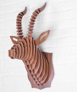 Umelecký drevený 3D obraz s hlavou antilopy v 9 farbách