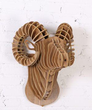 Umelecký drevený 3D obraz s hlavou Argali barana v 9 farbách