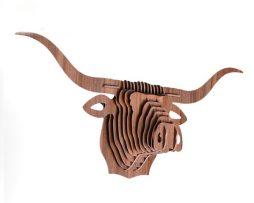 Umelecký drevený 3D obraz s hlavou veľkého býka v 9 farbách