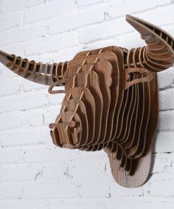 Umelecký drevený 3D obraz s hlavou býka v 9 farbách