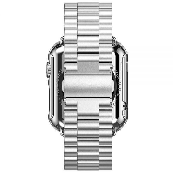 iWatch náramok na Apple hodinky z ocele s bumperom - strieborńý