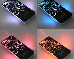 Luxusný svietiaci LED obal na Apple iPhone 5 s motívom kvetín