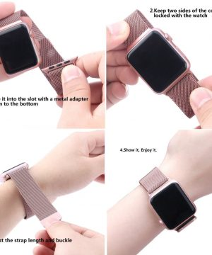Apple iWatch náramok na Apple hodinky - Milánska oceľ - ružové zlato