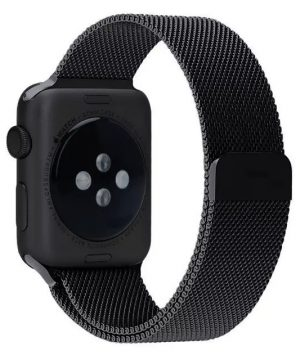 Apple iWatch náramok na Apple hodinky - Milánska oceľ - čierny