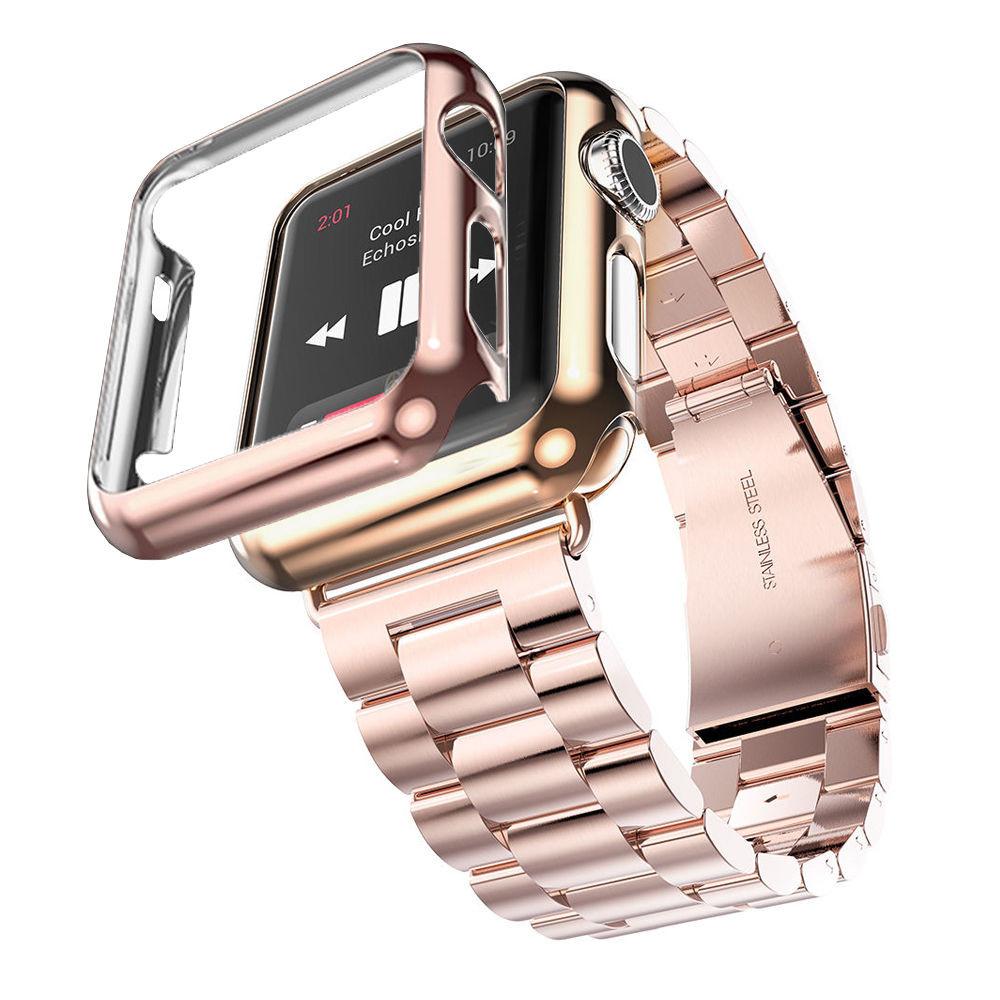 iWatch náramok na Apple hodinky z ocele s bumperom – ružové zlato ... abdd2b6923f