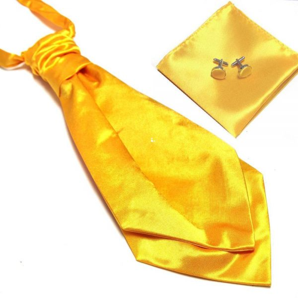 Luxusný pánsky set - ascot kravata, vreckovka a manžetové gombíky n07
