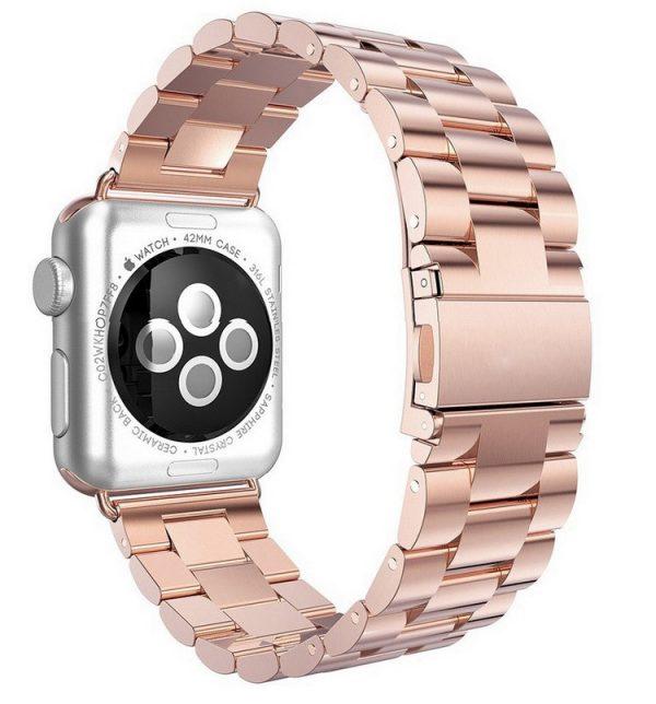 iWatch náramok na Apple hodinky z článkovej ocele - ružové zlato