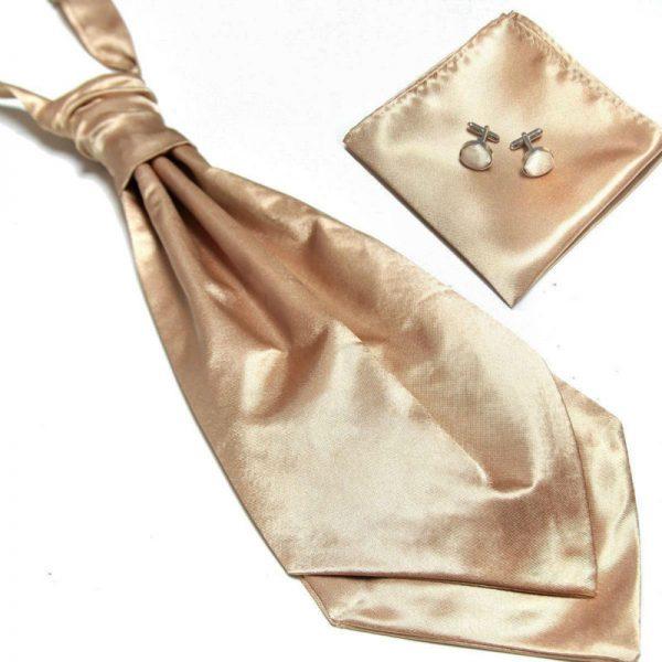 Luxusný pánsky set - ascot kravata, vreckovka a manžetové gombíky n16