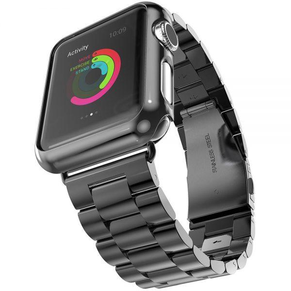 iWatch náramok na Apple hodinky z ocele s bumperom - čierny