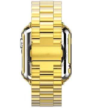 iWatch náramok na Apple hodinky z ocele s bumperom - zlatý