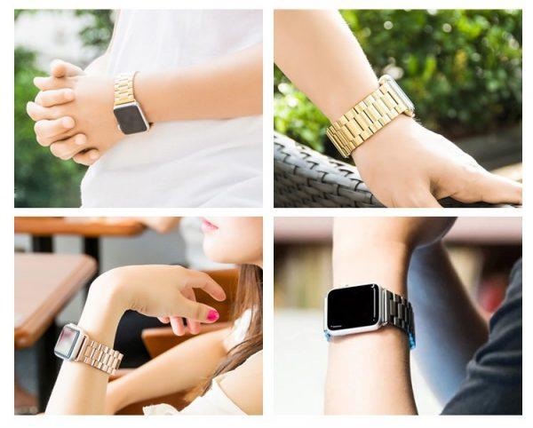 iWatch náramok na Apple hodinky z článkovej ocele - čierny