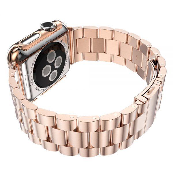 iWatch náramok na Apple hodinky z ocele s bumperom - ružové zlato