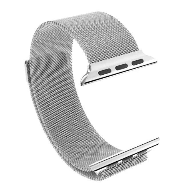 Apple iWatch náramok na Apple hodinky – Milánska oceľ – strieborný ... 9ac5f516415