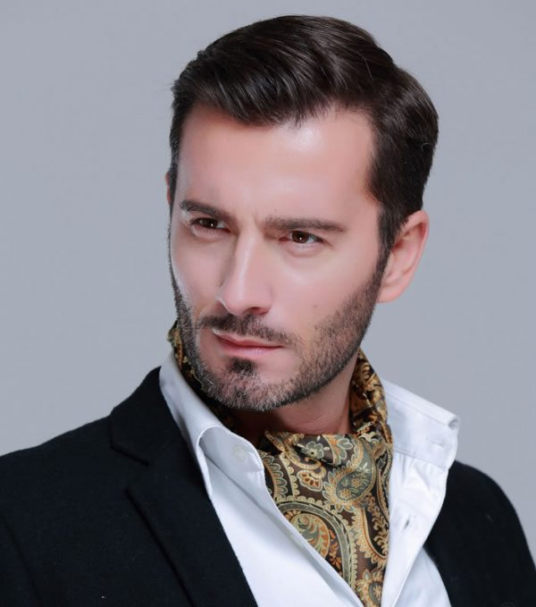 Luxusný pánsky set - ascot kravata, vreckovka a manžetové gombíky