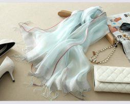 Elegantný dámsky ľahký hodvábny šál - vzor 04