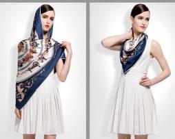 Luxusná hodvábna šatka s motívom Paríž 100 x 100 cm