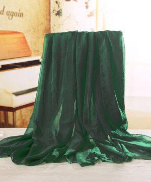 Luxusný veľký elegantný šál v tmavo zelenej farbe