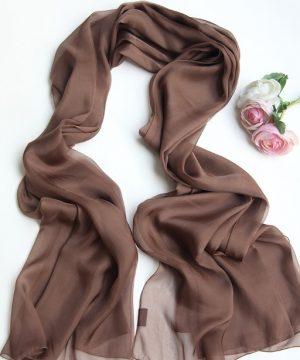 Luxusný veľký elegantný šál v hnedej farbe