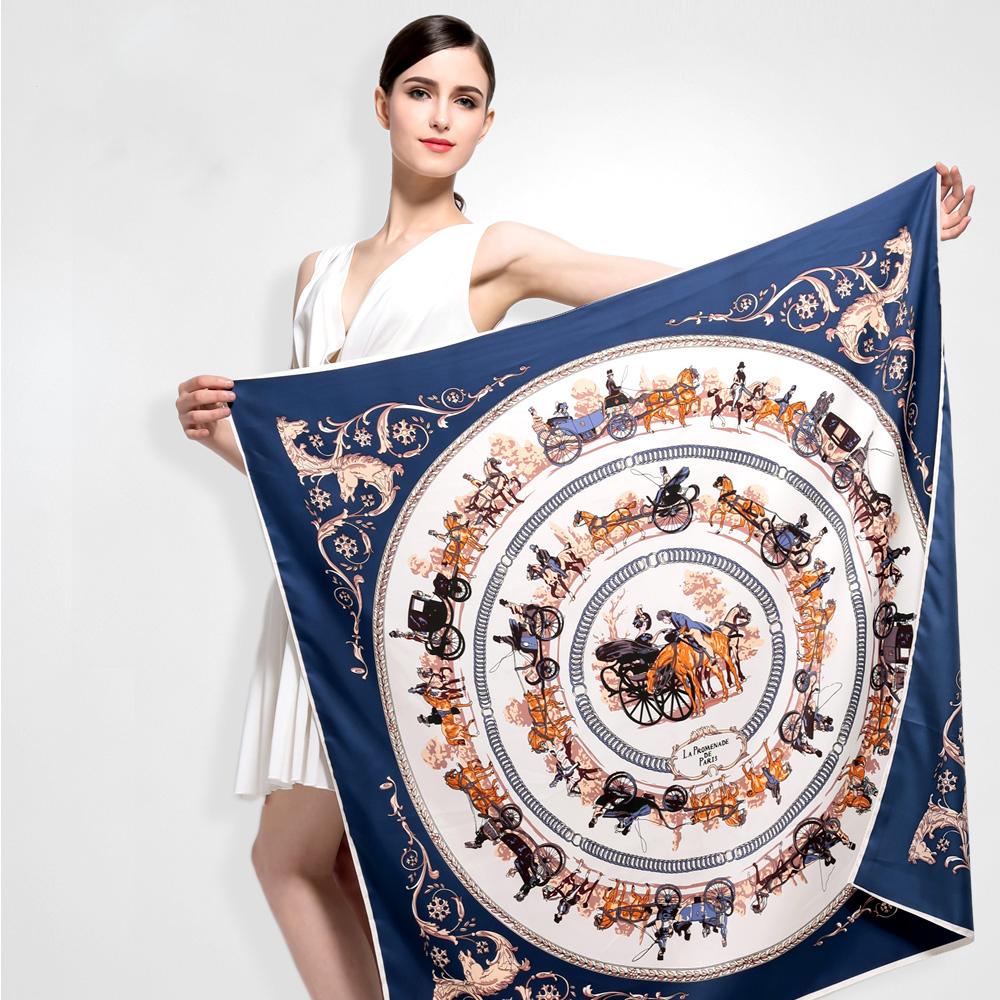 Luxusná hodvábna šatka s motívom Paríž 100 x 100 cm  2d7fedd4b7c