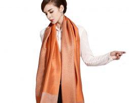 Ručne tkaný šál z hodvábu a kašmíru pomarančový