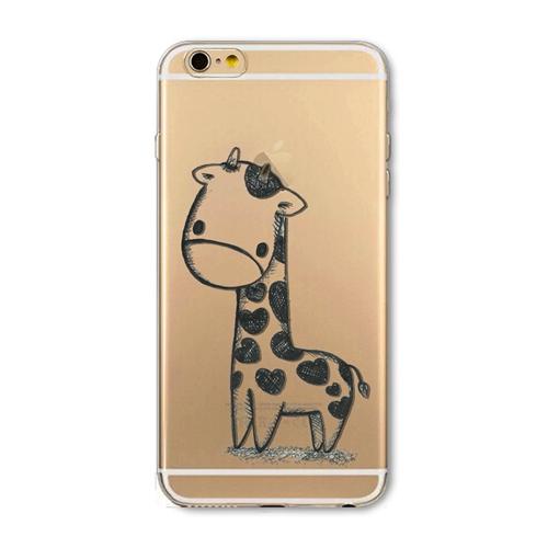 Kvalitný transparentný silikónový obal na iPhone 6/6S - giraffe