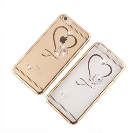 Silikónový obal so šperkom na iPhone 6 / 6S - srdce
