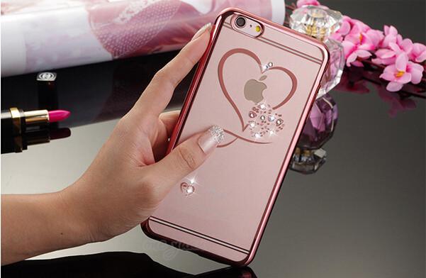 Silikónový obal so šperkom na iPhone 5 / 5S - srdce