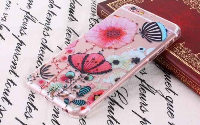 Kvalitný transparentný silikónový obal na iPhone 6/6S - flowers