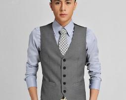 Kvalitná pánska vesta ku obleku v sivo-čiernom spracovaní